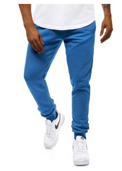 Долнище с еластична талия в син цвят