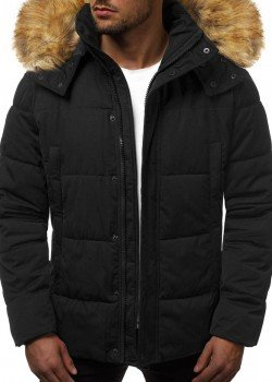 Зимно яке с качулка в черен цвят