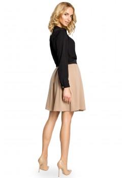 Елегантна пола с висока талия в цвят капучино M012