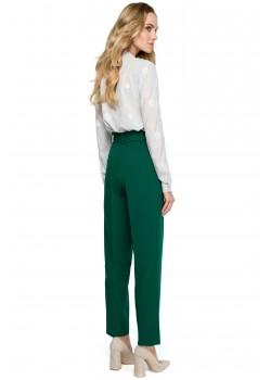 Класически панталон с висока талия в зелен цвят S124