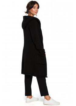 Дълга жилетка с качулка в черен цвят BK016