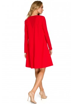 Трапецовидна рокля в червен цвят S137