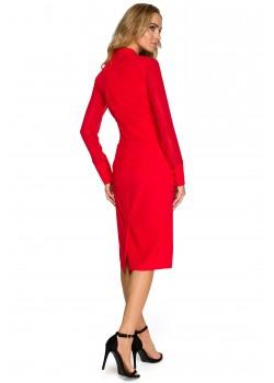 Елегантна рокля в червен цвят S136