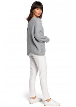 Асиметричен пуловер в сив цвят BK026
