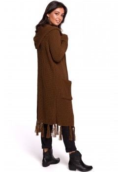 Дълга жилетка с ресни в кафяв цвят