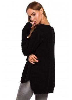 Пуловер с V-образно деколте в черен цвят M473