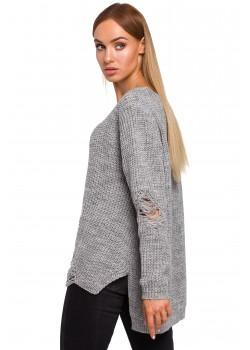 Пуловер с V-образно деколте в сив цвят M473