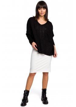 Асиметричен пуловер в черен цвят BK018
