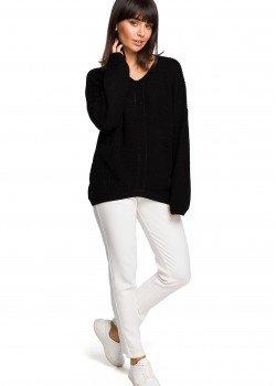Асиметричен пуловер в черен цвят BK026