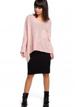 Асиметричен пуловер в розов цвят BK018