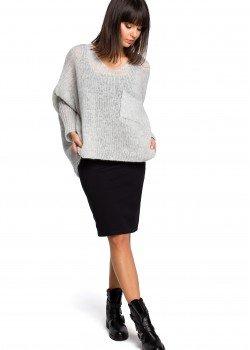 Асиметричен пуловер в светлосив цвят BK018