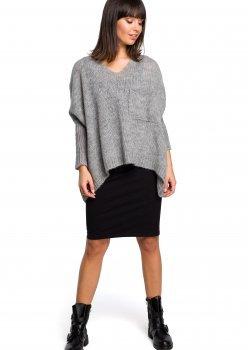 Асиметричен пуловер в сив цвят BK018