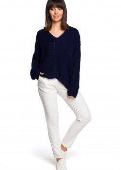 Асиметричен пуловер в тъмносин цвят BK026