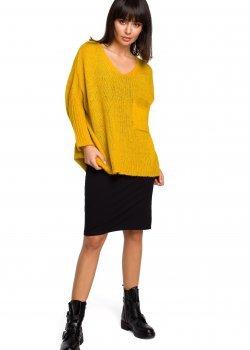 Асиметричен пуловер в жълт цвят BK018