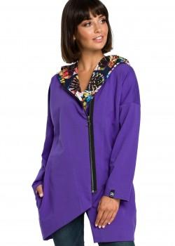 Асиметричен суичър в лилав цвят B091