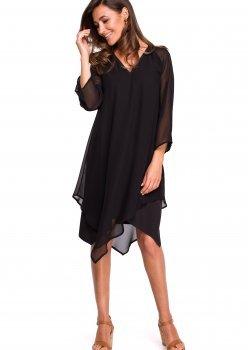 Черна рокля от шифон S159