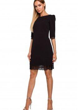 Черна рокля с 3/4 ръкав M489