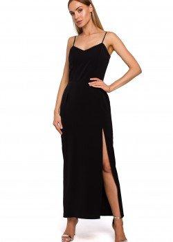 Черна рокля с тънки презрамки M485