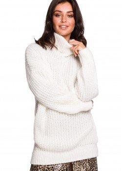 Дълъг пуловер в цвят екрю BK030