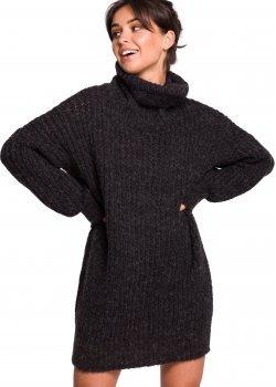 Дълъг пуловер в тъмносив цвят BK030