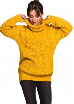 Дълъг пуловер в жълт цвят BK030