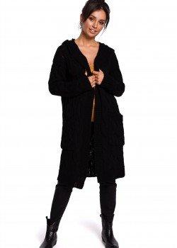 Дълга жилетка с качулка в черен цвят BK033