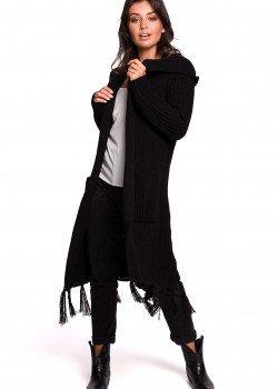 Дълга жилетка с ресни в черен цвят