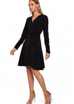 Ефирна черна рокля с V-образно деколте M487