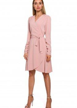 Ефирна розова рокля с V-образно деколте M487