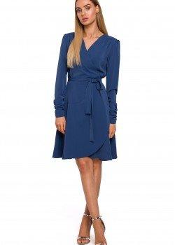 Ефирна синя рокля с V-образно деколте M487