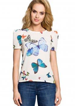 Елегантна блуза с къс ръкав в цвят екрю M220