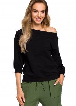 Елегантна блуза с широко деколте в черно M412