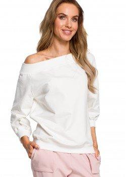 Елегантна блуза с широко деколте в цвят екрю M412
