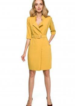 Елегантна къса рокля в жълт цвят S120