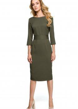 Елегантна миди рокля в цвят каки S119