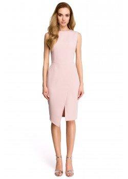 Елегантна миди рокля в цвят пудра S105