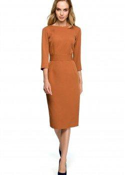 Елегантна миди рокля в кафяв цвят S119