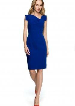 Елегантна миди рокля в син цвят S121