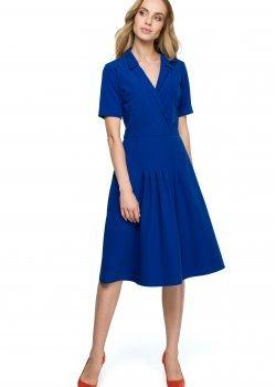 Елегантна миди рокля в син цвят S122