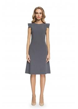 Елегантна миди рокля в сив цвят S079