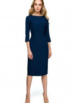 Елегантна миди рокля в тъмносин цвят S119