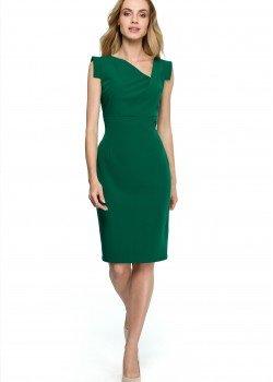 Елегантна миди рокля в зелен цвят S121