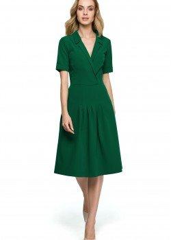 Елегантна миди рокля в зелен цвят S122
