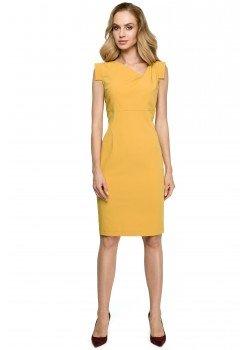 Елегантна миди рокля в жълт цвят S121