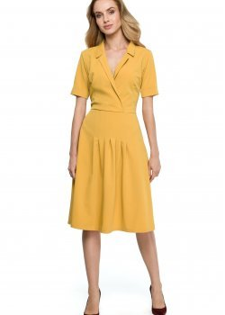Елегантна миди рокля в жълт цвят S122