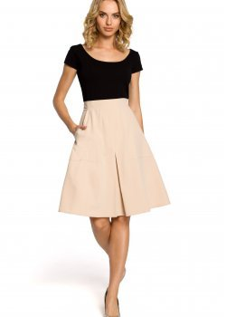 Елегантна пола с висока талия в бежов цвят M184