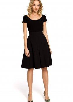 Елегантна пола с висока талия в черен цвят M184