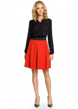 Елегантна пола с висока талия в червен цвят M012