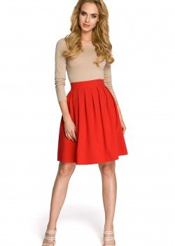 Елегантна пола с висока талия в червен цвят M237