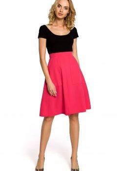Елегантна пола с висока талия в розов цвят M184